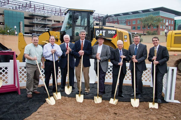 Dean Paul Johnson and dignitaries stand together to breakground at the College Ave Commons site