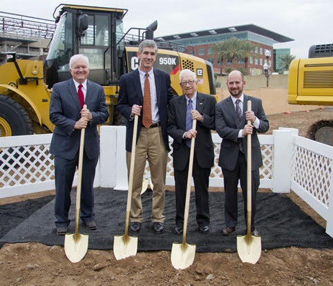 Edd Gibson breaking ground for the College Avenue Commons.