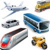 a group of multiple motorized vehicles : airplane, train, car, bus, motocycle, express train