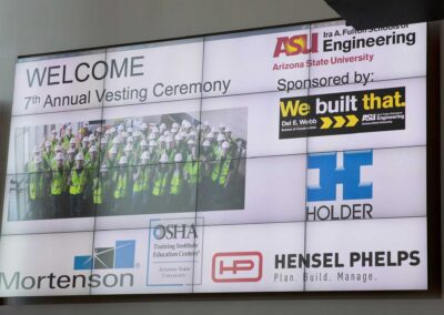 Electronic sign on the wall welcoming everyone to the DEWSC vesting ceremony
